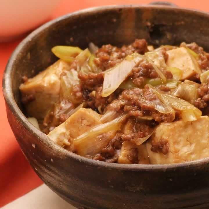 本格的でクセになる! すき焼き風ひき肉と豆腐の煮込み