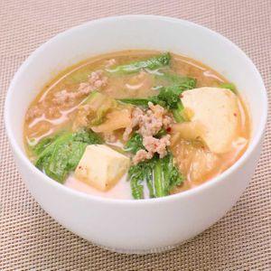「豚肉と小松菜のチゲスープ」のレシピ動画