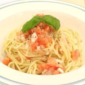 「ツナとトマトの冷製パスタ」のレシピ動画