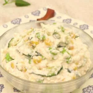 「きゅうりと枝豆の洋風白和え」のレシピ動画