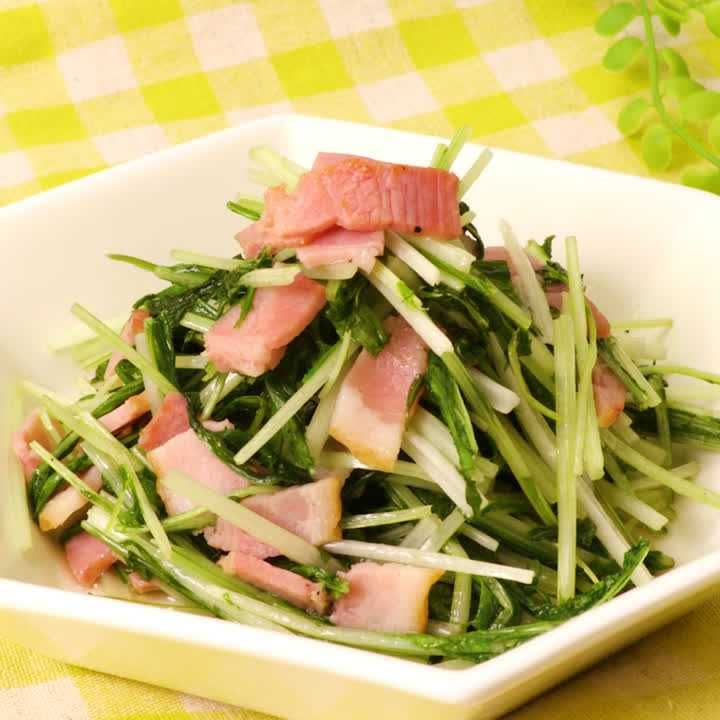水菜 ベーコン サラダ