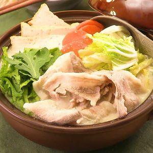 「豚肉と春菊のごま豆乳鍋」のレシピ動画