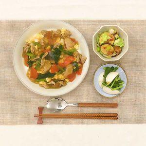 「小松菜と豚肉のあんかけごはん献立」のレシピ動画