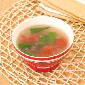 「オクラとミニトマトのスープ」のレシピ動画