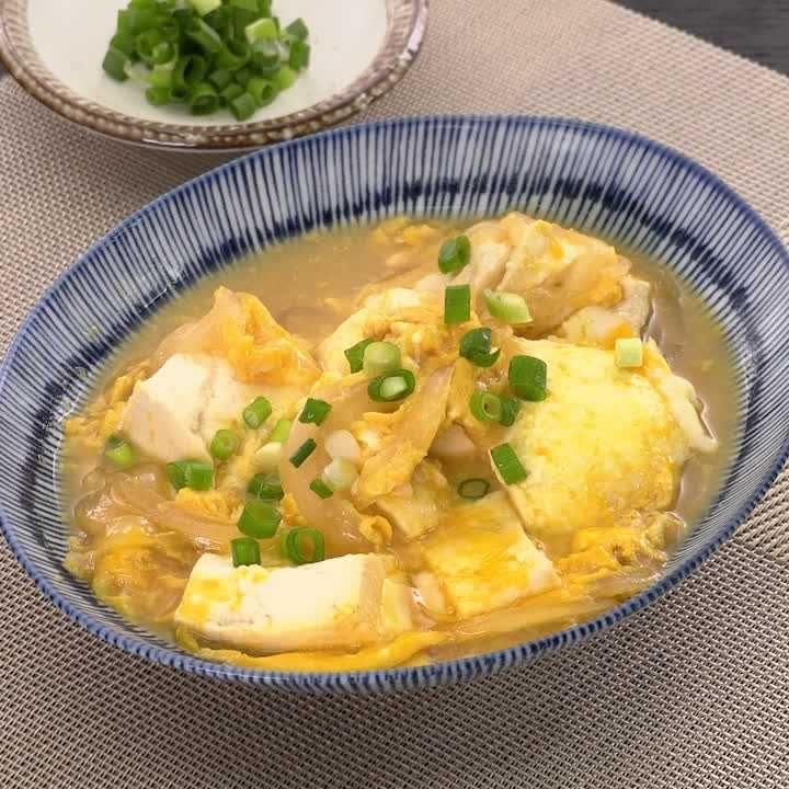 お家にある食材で♪ くずし豆腐の卵とじ