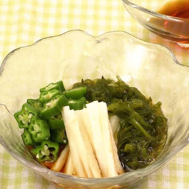 ネバネバ素材で簡単副菜! めかぶとオクラのネバネバサラダ