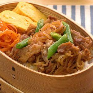 「豚肉としらたきの甘辛炒め弁当」のレシピ動画
