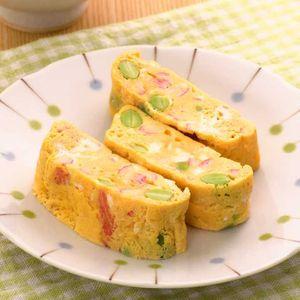「かにかまぼこと枝豆の卵焼き」のレシピ動画