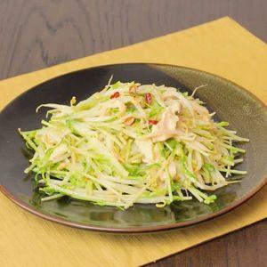 「ささみと豆苗のオイマヨ炒め」のレシピ動画