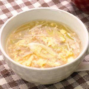 「えのきとねぎのふんわり卵スープ」のレシピ動画