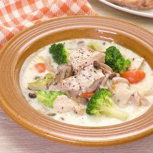 「鶏むね肉のクリームシチュー」のレシピ動画