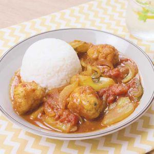 「豚こまボールとセロリのカレートマト煮」のレシピ動画