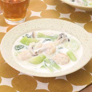 「チンゲン菜とほたての中華クリーム煮」のレシピ動画