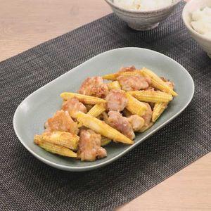 「ヤングコーンと鶏肉のおかかバター炒め」のレシピ動画