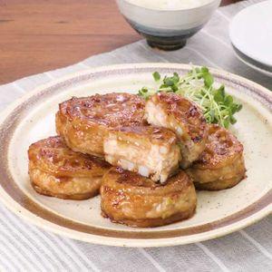 「豆腐つくねのれんこんはさみ焼き」のレシピ動画