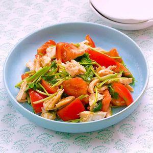 「トマトとサラダチキンの中華和え」のレシピ動画