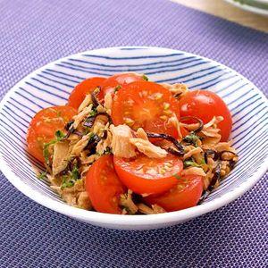 「ミニトマトとツナの塩昆布和え」のレシピ動画