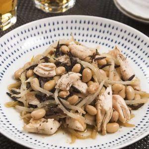 「大豆ともやしと蒸し鶏のポン酢和え」のレシピ動画