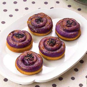 「紫芋でスイートポテト」のレシピ動画