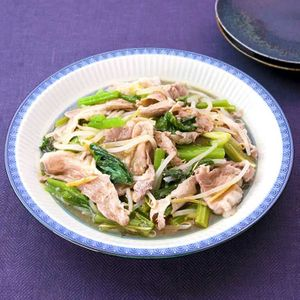 「豚肉と小松菜のしょうが蒸し」のレシピ動画