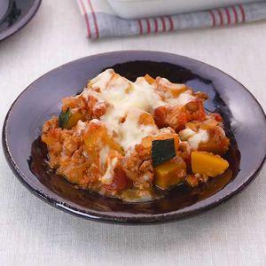 「大豆ミートとかぼちゃのトマトグラタン」のレシピ動画